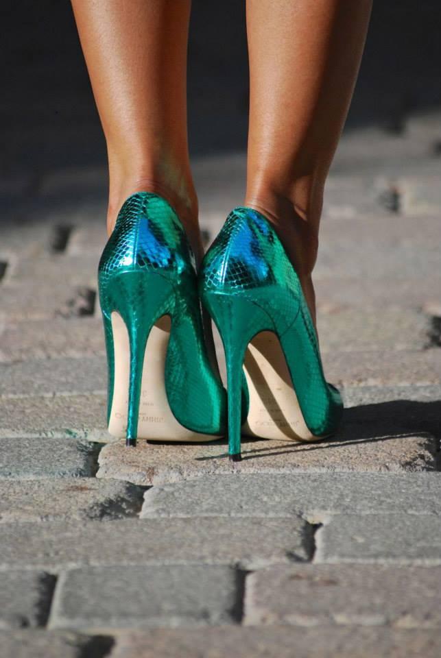 jimmy choo green snake leather imitation stilettos