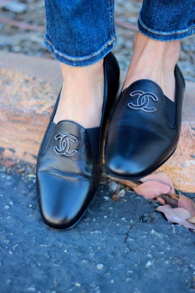 chanel black loafers