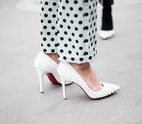 louboutin white spikes pumps