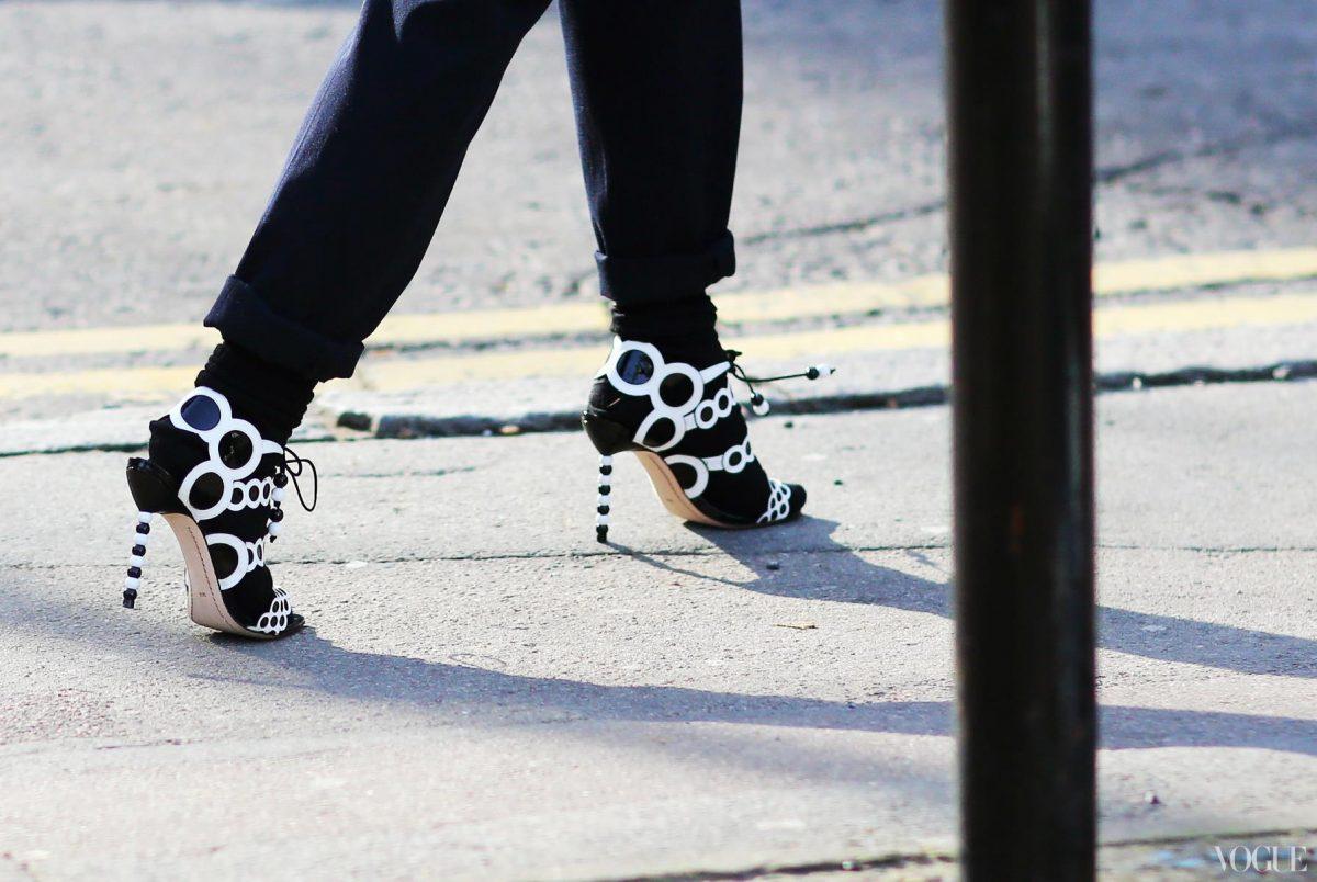 vogue sophia webster black white heels
