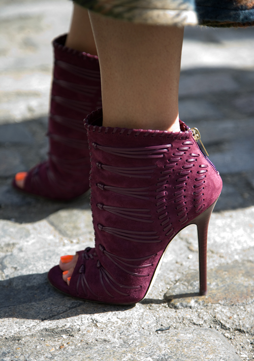 Peep toe Jimmy Choo ankle boots at London Fashion Week