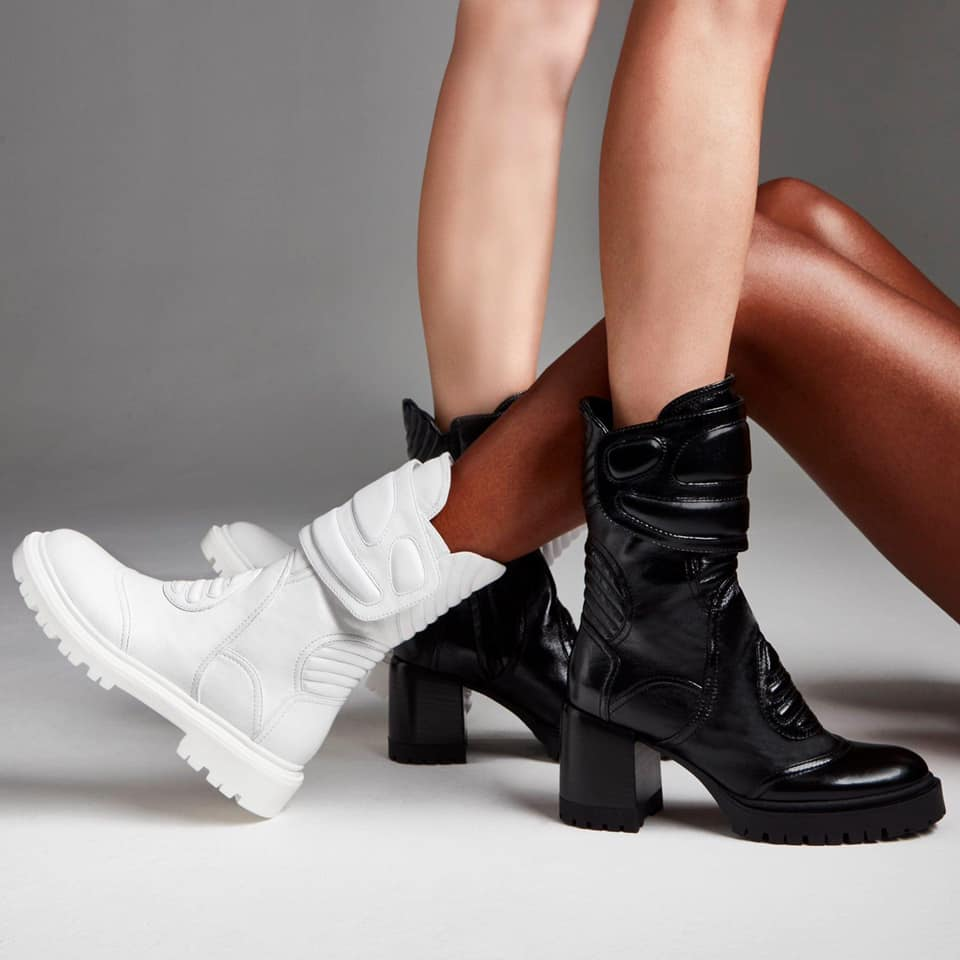Casadei black and white boots