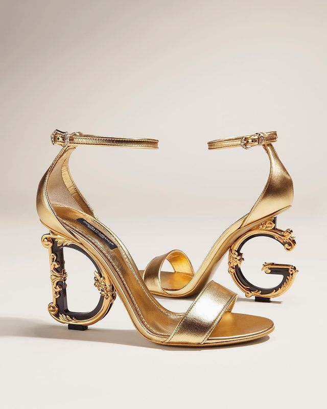 dolce and gabbana ankle strap golden sandals
